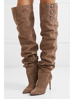 Balmain janet button-embellished suede thigh boots