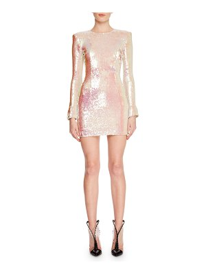 Balmain Jewel-Neck Long-Sleeve Paillette Mini Cocktail Dress