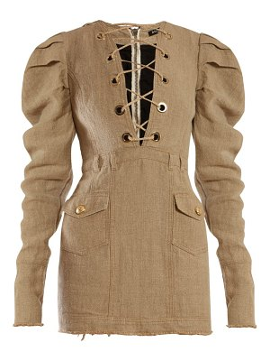 Balmain lace up canvas mini dress