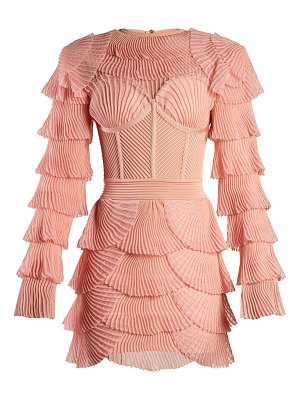 Balmain Layered ribbed mini dress