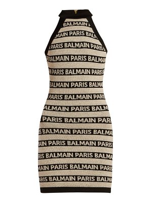 Balmain logo intarsia knitted mini dress