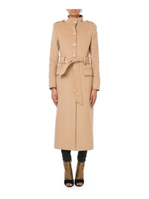 Balmain Long Belted Wool-Cashmere Military Coat
