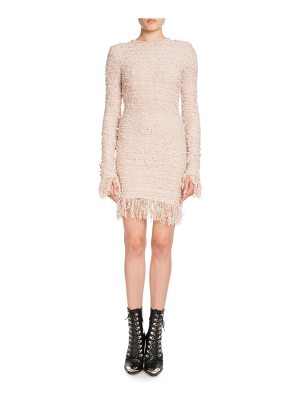 Balmain Long-Sleeve Fitted Knit Cocktail Dress with Fringe