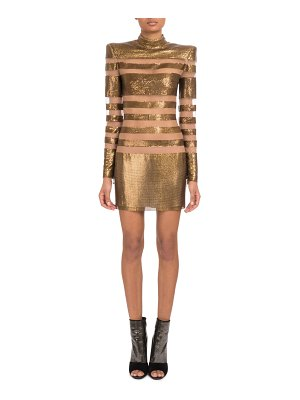 Balmain Long-Sleeve Mock-Neck Striped Mesh Metal Cocktail Dress on Tulle