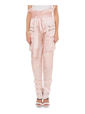 Balmain Silk Knotted Sleeve-Effect Cargo Pants