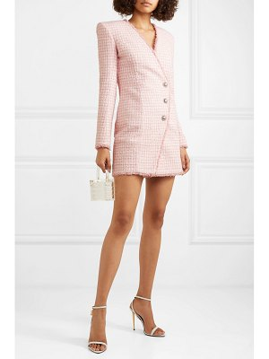 Balmain wrap-effect button-embellished tweed mini dress