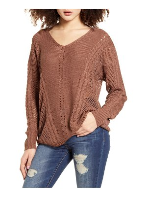 Band Of Gypsies sandy bay open stitch sweater