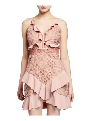 Bardot Fae Lace Bustier Ruffle Mini Dress