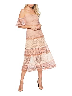 Bardot kristen off the shoulder lace midi dress
