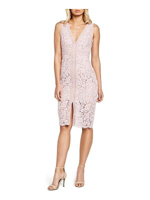 Bardot morgan front slit lace sheath dress