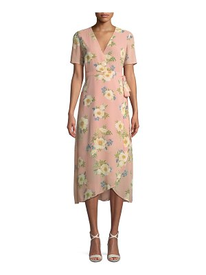 Bardot V-Neck Short-Sleeve Floral-Print Midi Wrap Dress