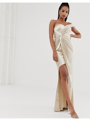 Bariano asymmetric liquid draped gown in gold