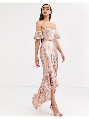 Bariano bardot midi sequin dress with dip hem in rose gold