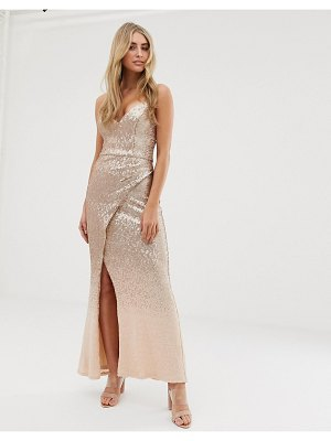Bariano embellished ombre sequin strappy back maxi dress in gold