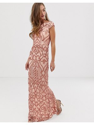 Bariano embellished patterned sequin maxi dress with cap sleeve in rose gold