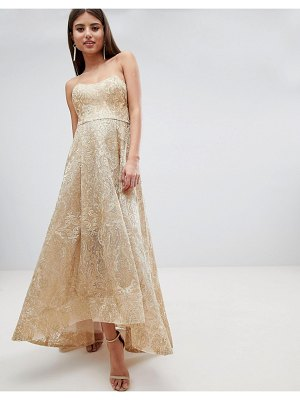 Bariano high low bandeau maxi dress in metallic jacquard-gold