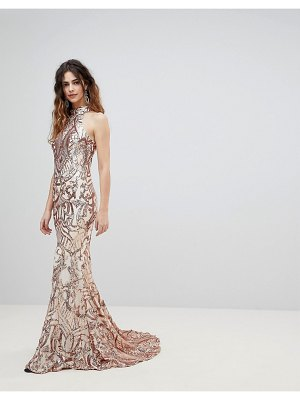 Bariano high neck embellished maxi dress