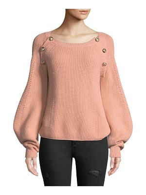 BA&SH Daia Round-Neck Pouf-Sleeve Knit Sweater With Button Trim