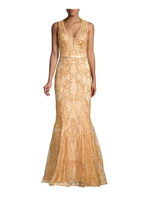 Basix Black Label godet embellished lace mermaid gown