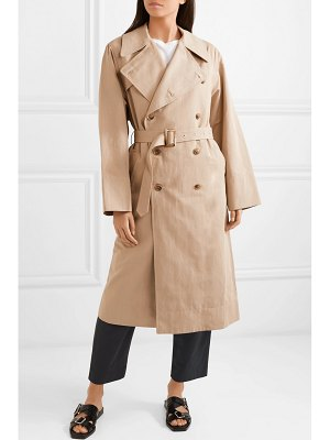 BASSIKE belted cotton and linen-blend trench coat