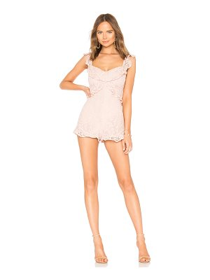 BCBGeneration Lace Ruffle Romper In Rose Smoke