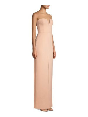 BCBGMAXAZRIA double-faced crepe notched strapless gown