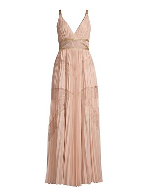 BCBGMAXAZRIA lace pleated georgette a-line dress