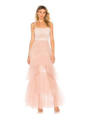 BCBGMAXAZRIA Oly Long Tulle Gown In Bare Pink
