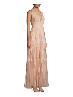 BCBGMAXAZRIA raissa striped lace halter gown