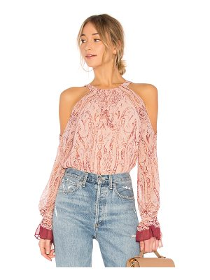 BCBGMAXAZRIA Sessilee Long Sleeve Cold Shoulder Top In Bare Pink Combo