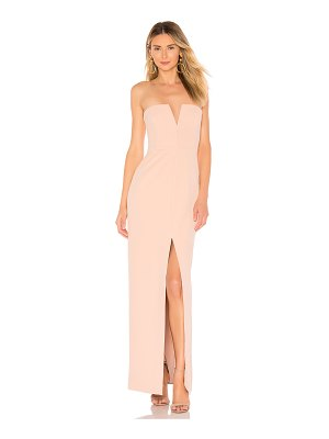 BCBGMAXAZRIA Strapless High Slit Gown