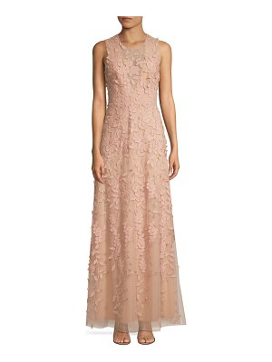 BCBGMAXAZRIA tulle floral embroidered sleeveless gown