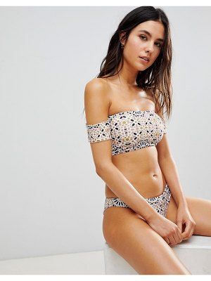 BEACH RIOT off shoulder metallic foil print bikini top