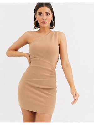 Bec & Bridge elke mini one shoulder dress-beige