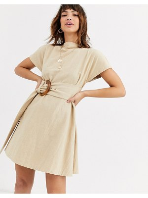 Bec & Bridge harlow linen mini dress with tort belt-beige