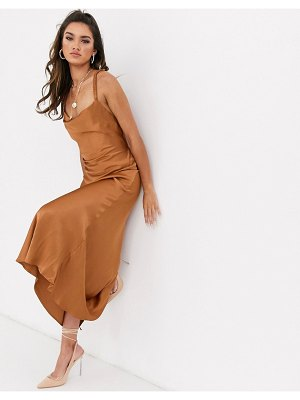 Bec & Bridge lani satin midi dress-brown