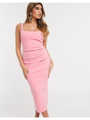 Bec & Bridge paloma bodycon midi dress in flamingo-pink