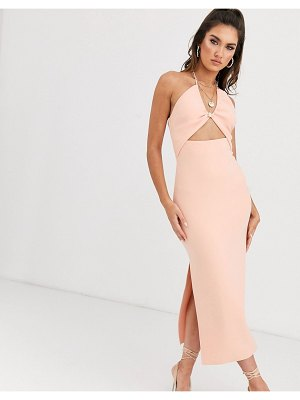 Bec & Bridge ruby asymmetrical bodycon midi dress in peach-pink