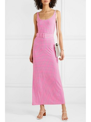 BERNADETTE monica belted gingham stretch-jersey midi dress