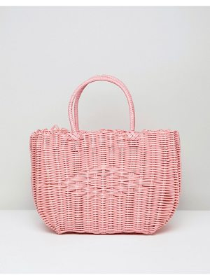 Bershka basket weave shopper in pink