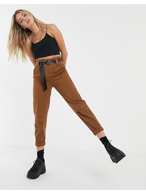 Bershka belted pants in brown