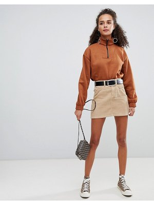 Bershka button cord mini skirt