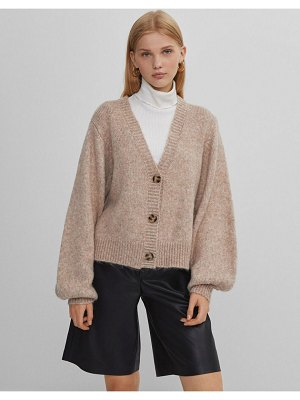 Bershka button front cardigan in camel-brown