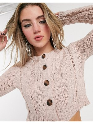 Bershka cable knitted cardigan in soft pink