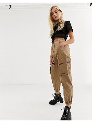 Bershka cargo pant in beige-brown