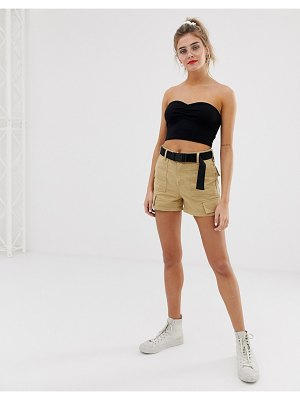 Bershka cargo short in beige