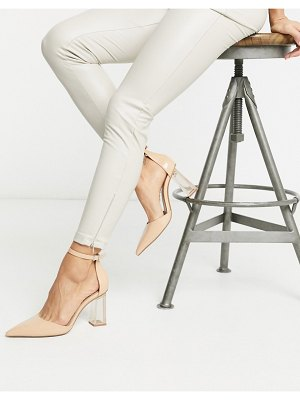 Bershka closed toe shoe with transparent heel in ecru-beige
