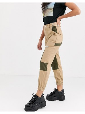 Bershka contrast panel cargo pants in camel