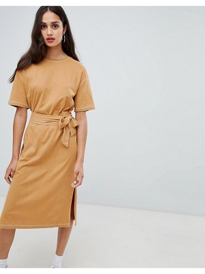 Bershka contrast stitch t shirt dress with tie