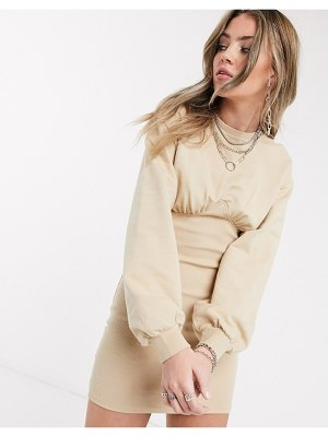 Bershka corset detail sweat dress in camel-beige